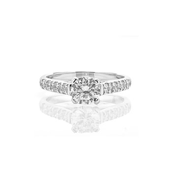 Classic Straight Diamond Band Engagement Ring