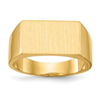 14k 9.0x15.0mm Closed Back Men's Signet Ring