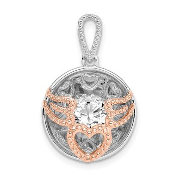 Sterling Silver Rhod-plated & Rose-tone Heart & Wings w/Vibrant CZ Pendant