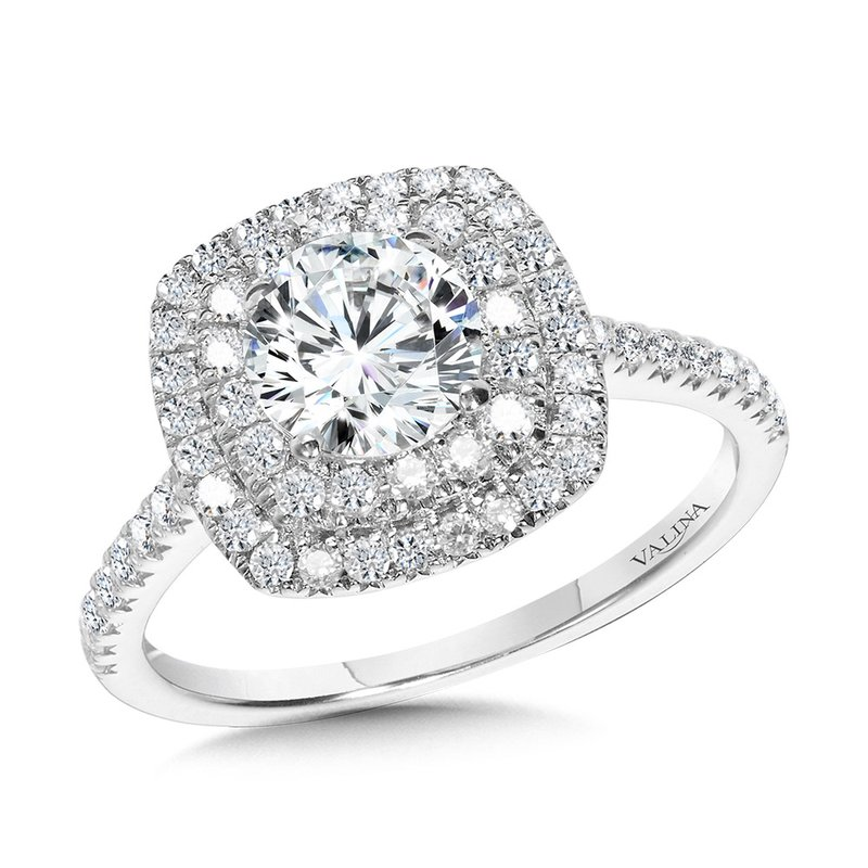 Valina Straight Cushion-Shaped Double-Halo Engagement Ring