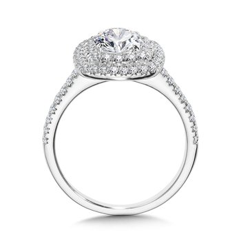 Straight Cushion-Shaped Double-Halo Engagement Ring