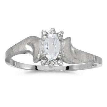 14k White Gold Oval White Topaz And Diamond Satin Finish Ring