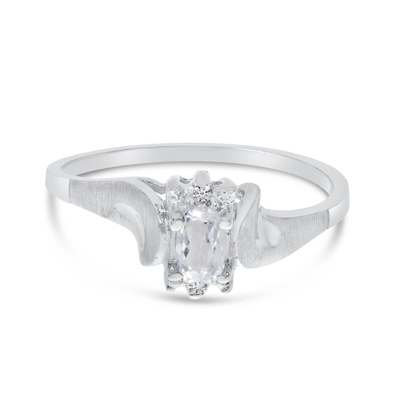 Color Merchants 14k White Gold Oval White Topaz And Diamond Satin Finish Ring