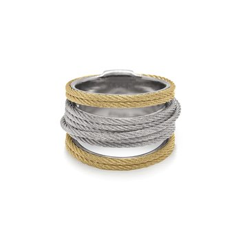 Grey & Yellow Cable Simple Stack Ring