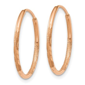 14k Rose Gold 1.25mm Diamond-cut Endless Hoop Earring