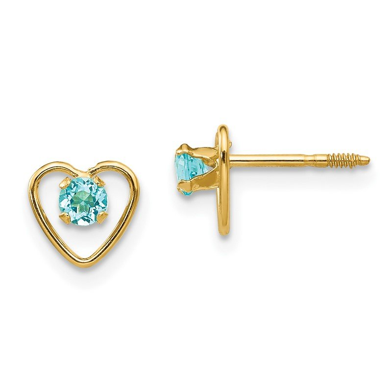 J.F. Kruse Signature Collection 14k Madi K 3mm Blue Zircon Birthstone Heart Earrings