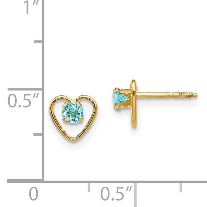 Details about  /Real 14kt Yellow Gold Madi K 3mm Synthetic Blue Zircon Birthstone Earrings