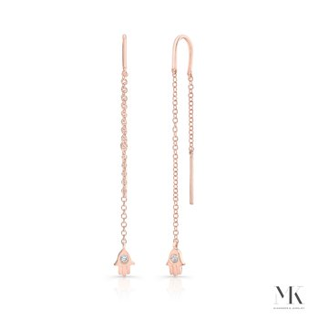 Rose Gold Piety Petite Hamsa Ear Threaders