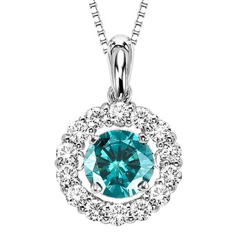 14K Blue & White Diamond Rhythm Of Love Pendant 1 ctw (3/4 ctw Blue Center)