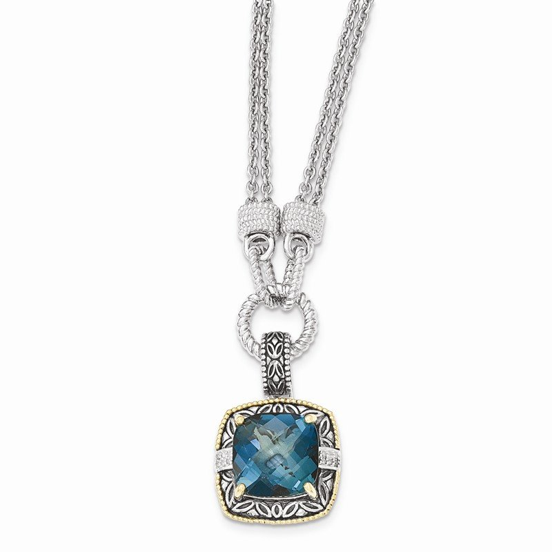 Shey Couture Sterling Silver w/14K London Blue Topaz & Diamond 1in. Ext. Necklace