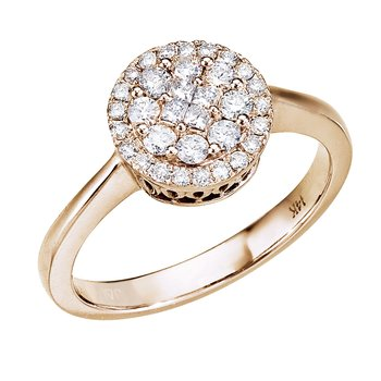 14K Yellow Gold .50 Ct Diamond Cluster Ring