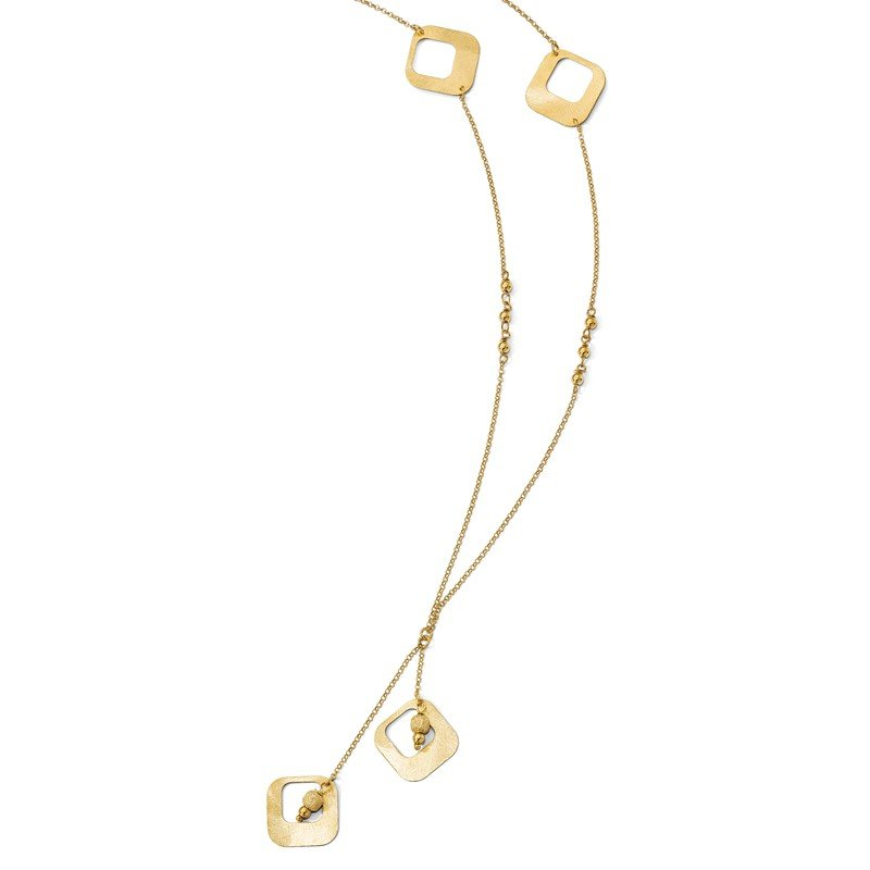 Leslie's Italian Gold Leslie's Sterling Silver Gold-plated Satin & D/C Fancy Drop Necklace