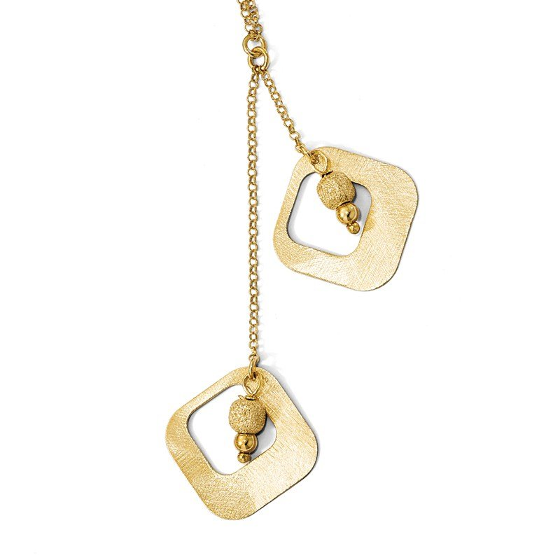 Leslie's Leslie's Sterling Silver Gold-plated Satin & D/C Fancy Drop Necklace