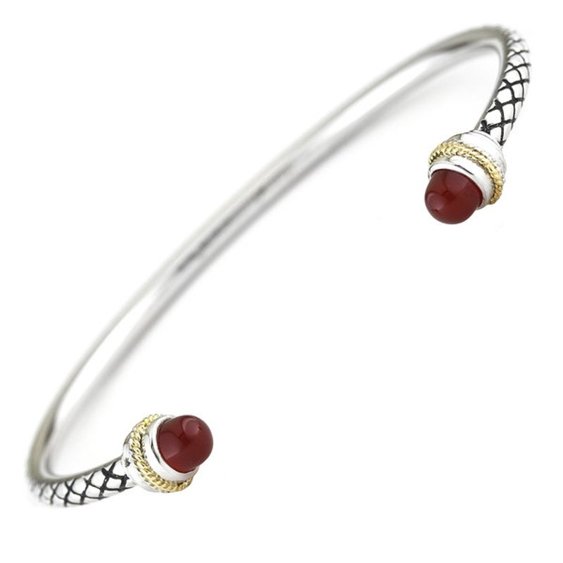 Andrea Candela 18kt and Sterling Silver Red Agate Bangle