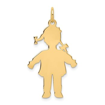 14k Plain Polished Large Girl Charm