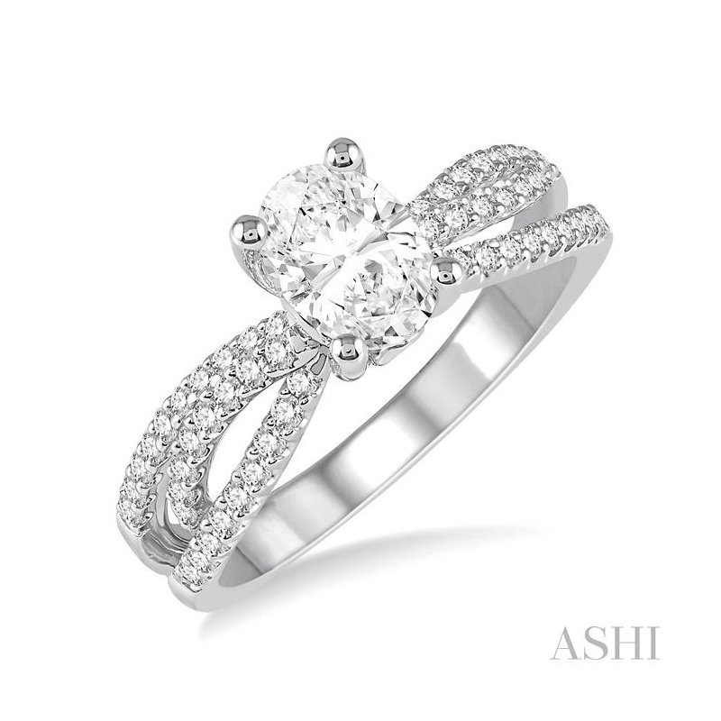 ASHI oval semi-mount diamond engagement ring
