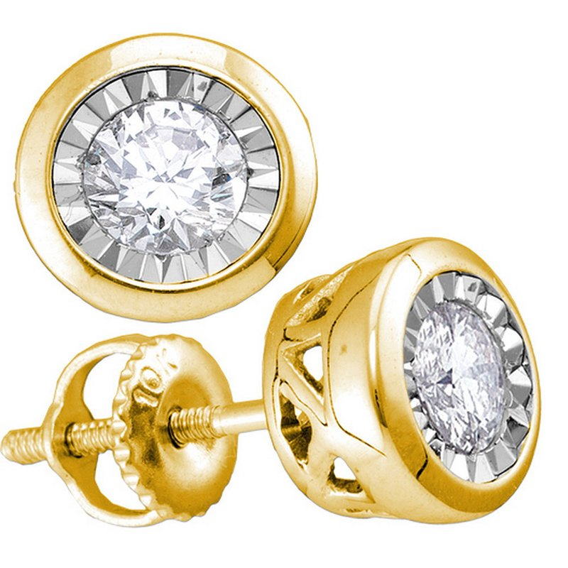 Gold-N-Diamonds, Inc. (Atlanta) 10kt Yellow Gold Womens Round Diamond Solitaire Stud Earrings 1/2 Cttw