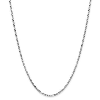 14k WG 2.45mm Semi-Solid Round Box Chain