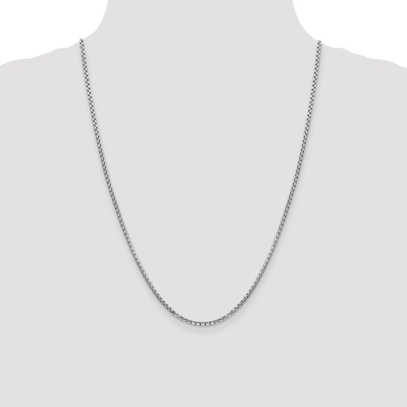 Quality Gold 14k WG 2.45mm Semi-Solid Round Box Chain