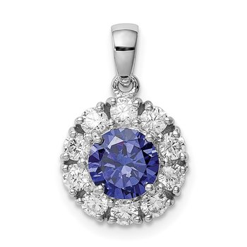 Sterling Silver Rhodium-plated Blue and White CZ Halo Pendant