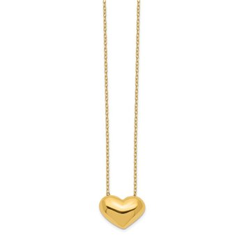 14k Polished Puffed Heart 18 inch Necklace