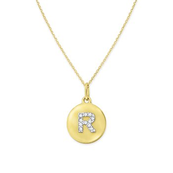 Diamond Uppercase Mini Disc Initial R Necklace