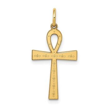14K Laser Designed Ankh Cross Charm