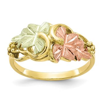 10k Tri-color Black Hills Gold Flower Ring