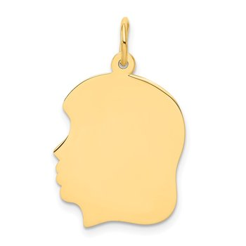 14k Plain Medium .035 Gauge Facing Left Engravable Girl Head Charm