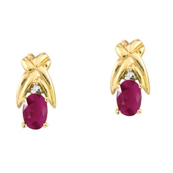 14k Yellow Gold 6x4mm Oval Ruby and Diamond Stud Earrings