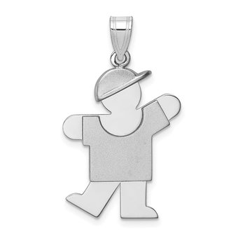 14k White Gold Medium Boy w/Hat on Left Engravable Charm