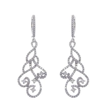 14K White Gold Swirl Drop Diamond Earrings