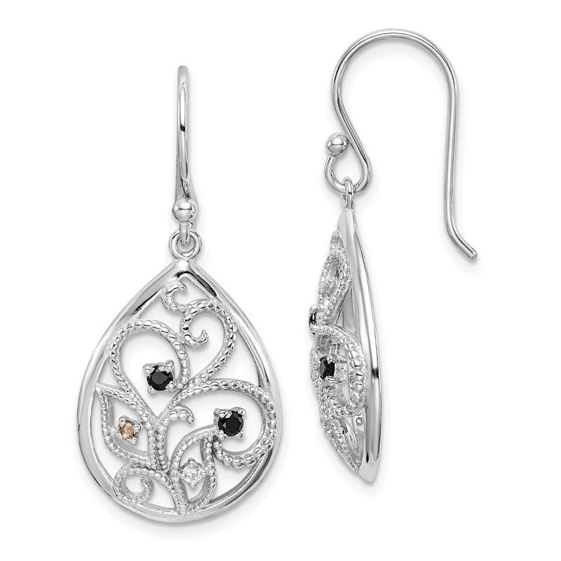 Quality Gold Sterling Silver RH-plated Textured Filigree w/CZ Dangle Earrings