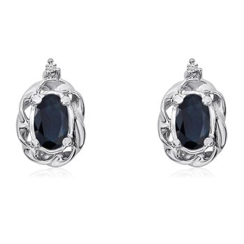 14k White Gold Sapphire Scroll Diamond Earrings