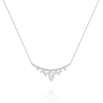 Diamond Curved Cascade Necklace Set in 14 Kt. Gold