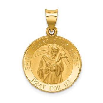 14k Polished and Satin St Francis of Assisi Medal Hollow Pendant
