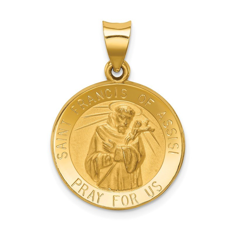 Quality Gold 14k Polished and Satin St Francis of Assisi Medal Hollow Pendant