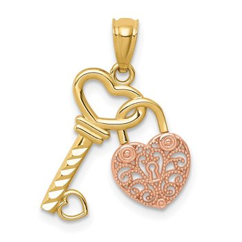 14K Two-tone Polished Filigree Heart Lock and Diamond-cut Key Charm
