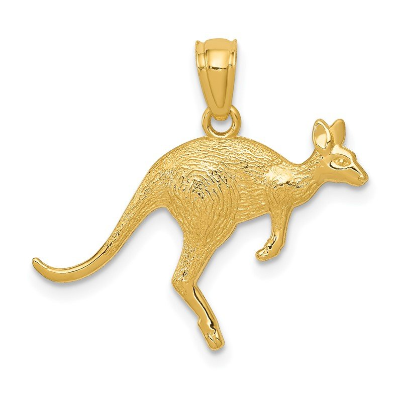 Quality Gold 14k Yellow Gold Textured Kangaroo Pendant