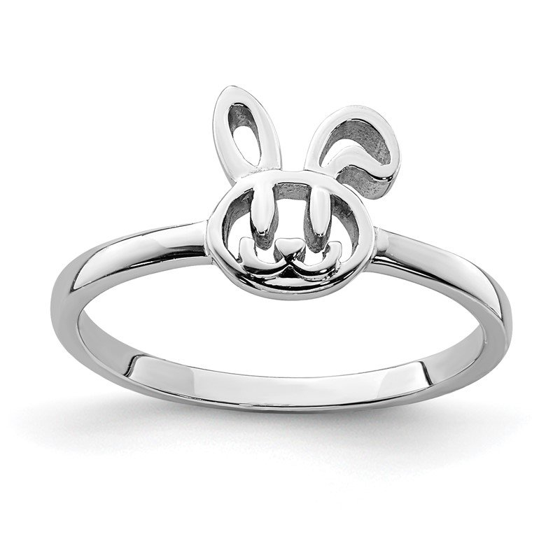 Quality Gold Sterling Silver Rhodium-plated Childs Bunny Ring