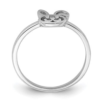 Sterling Silver Rhodium-plated Childs Bunny Ring