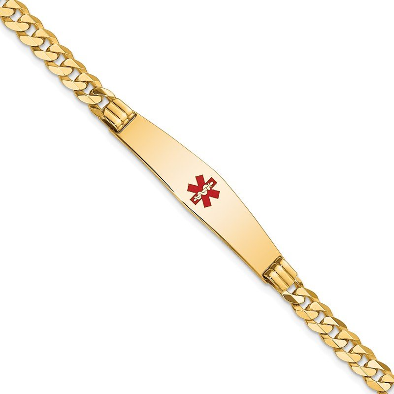 Quality Gold 14K Medical Soft Diamond Shape Red Enamel Curb Link ID Bracelet