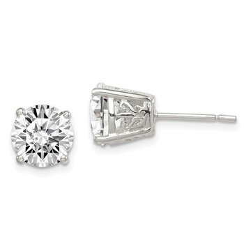 Sterling Silver 8mm Round CZ Post Earrings