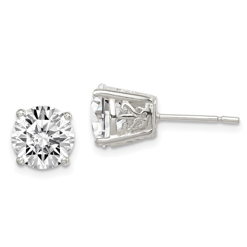 Quality Gold Sterling Silver 8mm Round CZ Post Earrings