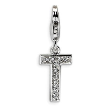 Sterling Silver CZ Letter T w/Lobster Clasp Charm
