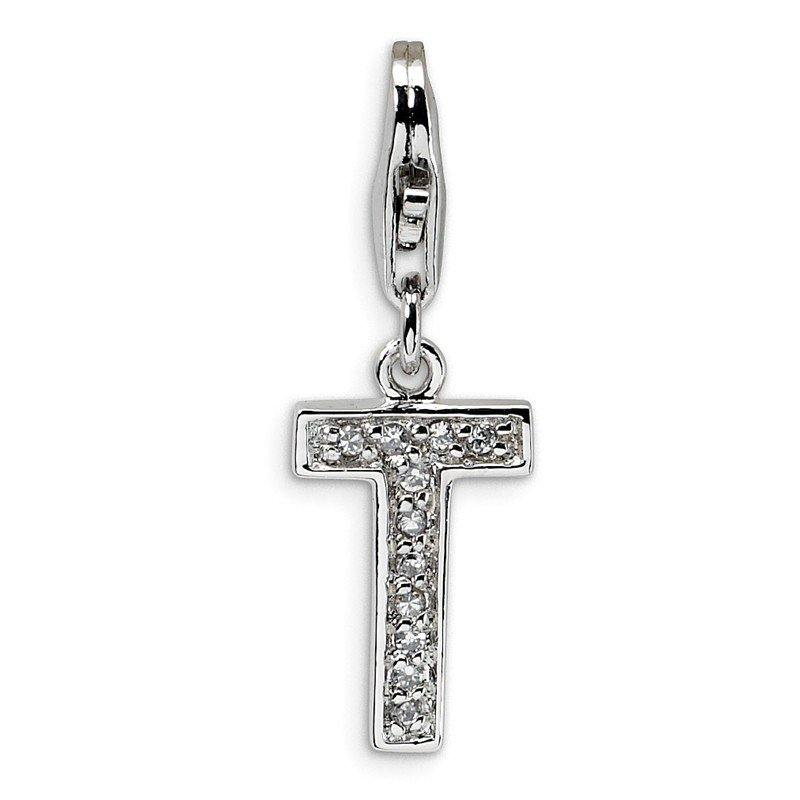 Arizona Diamond Center Collection Sterling Silver CZ Letter T w/Lobster Clasp Charm