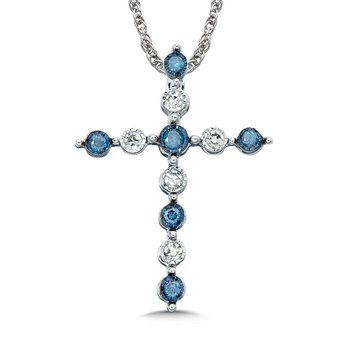 Blue and White Floating Diamond 14k Cross Pendant (0.05ct. tw.)