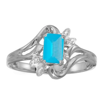 14k White Gold Emerald-cut Blue Topaz And Diamond Ring