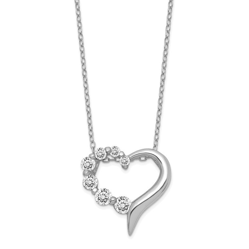 Quality Gold Sterling Silver CZ Heart Journey Necklace