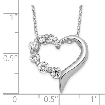 Sterling Silver CZ Heart Journey Necklace